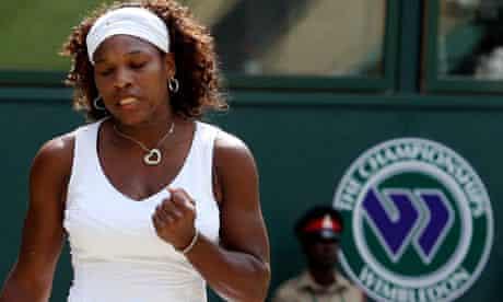 Serena Williams celebrates winning a point