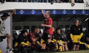 Wayne Rooney engaging with Besiktas fans following his substitution