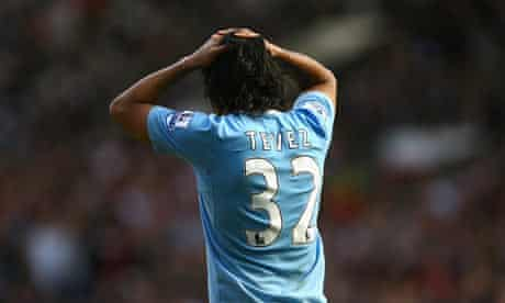 Carlos Tevez of Manchester City shows his frustration