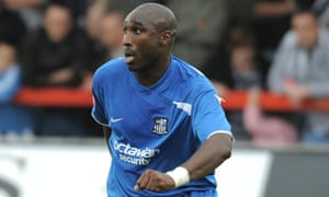 Sol Campbell pictured during his one appearance for Notts County