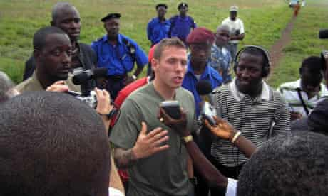 Craig Bellamy discusses his foundation with reporters in Sierra Leone in June 2008