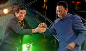 Diego Maradona and Pelé cast their differences aside for once on Maradona's TV show in 2005
