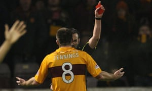 Motherwell's Steve Jennings is sent off by the referee Stevie O'Reilly