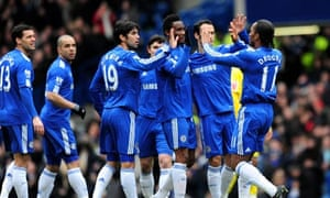 Didier Drogba is congratulated after scoring Chelsea's opening goal