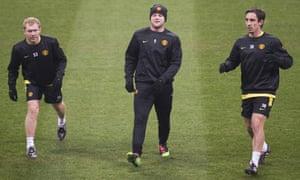 Paul Scholes, Wayne Rooney and Gary Neville