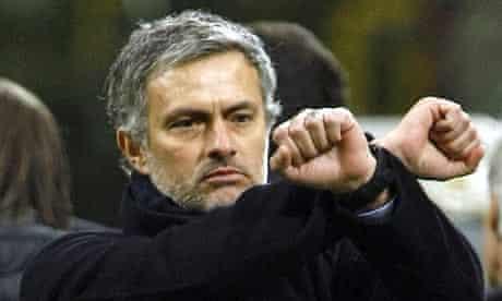 Internazionale coach Jose Mourinho gestures during their match against Sampdoria