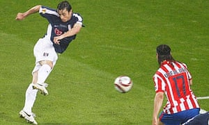 Fulham's Simon Davies scores against Atlético Madrid