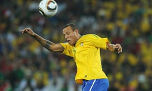 Luis Fabiano heads the ball during Brazil's final group game against Portugal at the World Cup