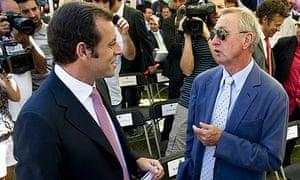 Johan Cruyff, right, speaks with Barcelona's new president Sandro Rosell in Barcelona yesterday