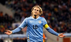 Diego Forlan scored Uruguay's goal in their 3-1 semi-final defeat to Holland in Cape Town