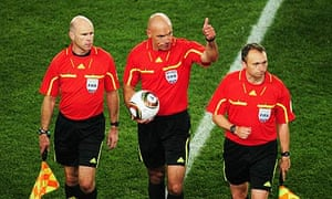 Howard Webb, centre, Michael Mullarkey, left, and Darren Cann have done well at the World Cup