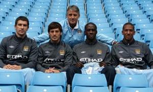 Aleksandar Kolarov, David Silva, Yaya Touré and Jérôme Boateng of Manchester City
