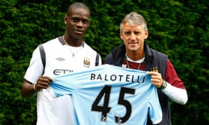 Mario Balotelli is welcomed to Manchester City by his new manager Roberto Mancini.