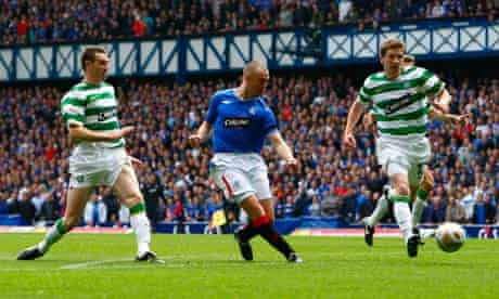 Kenny Miller scores for Rangers during the Old Firm  match at Ibrox on 4 October 2009