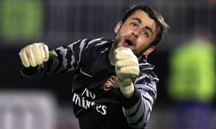 Lukasz Fabianski of Arsenal in action in the Champions League against Partizan Belgrade