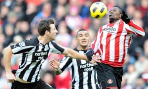 Asamoah Gyan, who scored an equaliser for Sunderland, controls the ball at the Stadium of Light