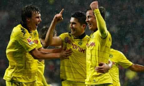 Borussia Dortmund celebrate scoring against Bayer Leverkusen