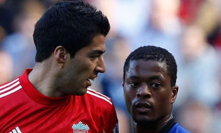 Luis Suárez and Patrice Evra during Liverpool v Manchester United match, 15 October