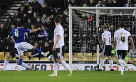 Filip Kiss opens the scoring for Cardiff City against Derby County