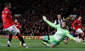 Newcastle United's Tim Krul, right, produced a fine display to restrict Manchester United to one