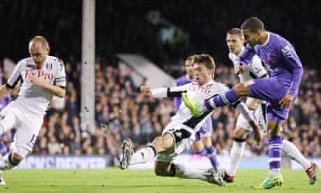 Aaron Lennon, right, scores Tottenham's second goal against Fulham