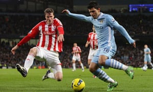 Manchester City's Sergio Agüero, right, scored twice during his side's victory over Stoke
