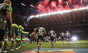 Harlequins players at Twickenham before the match against Saracens