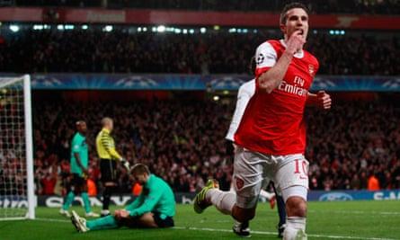 Arsenal's Robin van Persie celebrates his cross