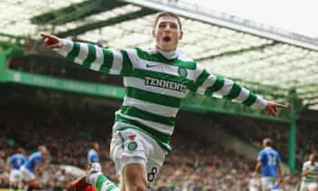 Gary Hooper celebrates scoring the opener for Celtic against Rangers