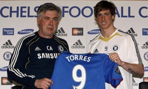 Carlo Ancelotti with new signing Fernando Torres