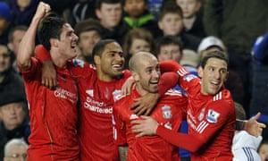 Liverpool's Raul Meireless celebrates scoring against Chelsea at Stamford Bridge