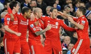 Liverpool's Raul Meireles celebrates scoring the winner against Chelsea at Stamford Bridge
