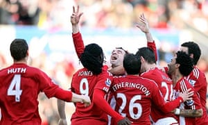 Stoke City's Danny Higginbotham celebrates scoring their third goal against Newcastle United