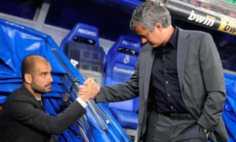 Real Madrid's José Mourinho and Barcelona's Pep Guardiola