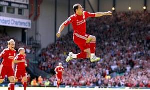 Liverpool's Maxi Rodriguez celebrates