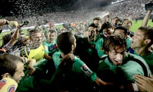 The Barcelona players celebrate