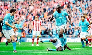 Manchester City's Yaya Touré celebrates scoring the winner in the FA Cup final against Stoke City