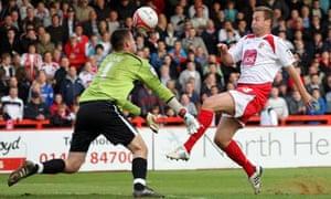 Joel Byrom beats Accrington Stanley's goalkeeper Alex Cisak