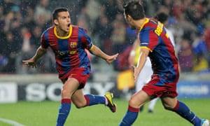 Pedro, David Villa, Barcelona v Real Madrid