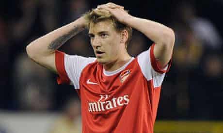 Nicklas Bendtner has found himself down the pecking order of Arsenal strikers this season