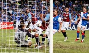 Darren Bent celebrates scoring the only goal of the game as Aston Villa beat Blackburn