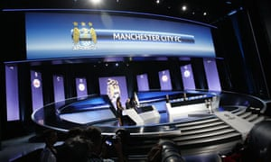 Manchester City are drawn from the pot during the Champions League draw