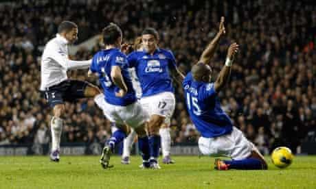 Aaron Lennon breaks the deadlock at White Hart Lane despite the efforts of the Everton defence