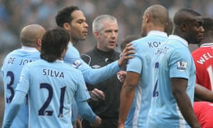 Manchester City's Vincent Kompany was sent off by Chris Foy following his challenge on Nani