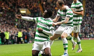 Celtic's Victor Wanyama celebrates scoring his side's second goal against Dundee United.