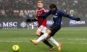 Internazionale's striker Diego Milito puts his side in front at San Siro