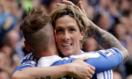 Fernando Torres celebrates with Raul Meireles after scoring his second goal v Leicester
