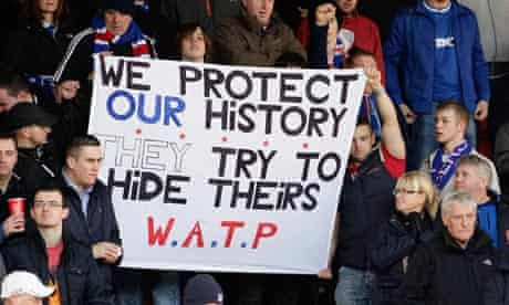 Rangers fans display a banner during their recent Scottish Premier League match with Dundee United