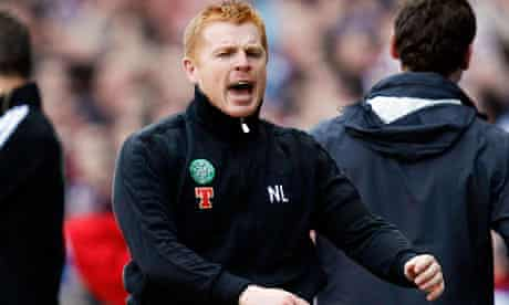 Celtic manager Neil Lennon reacts to a refereeing decision during their 3-2 defeat to Rangers