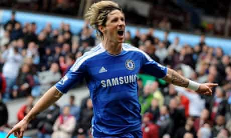 Fernando Torres after scoring for Chelsea at Aston Villa